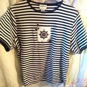 (3/$13)MP Sailing Top Navy & White Stripes